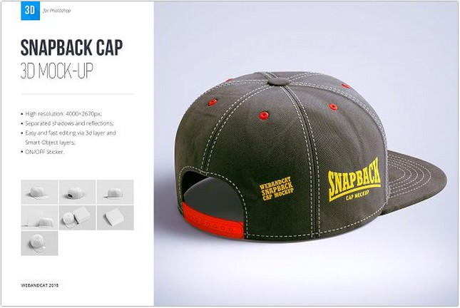 Snapback hat 3d Mockup