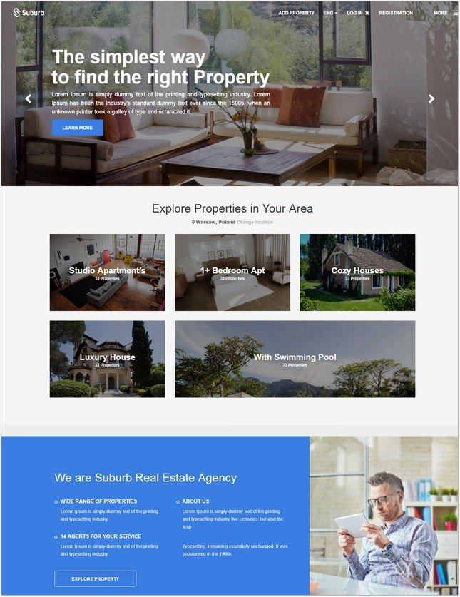 Suburb - Real Estate HTML Template