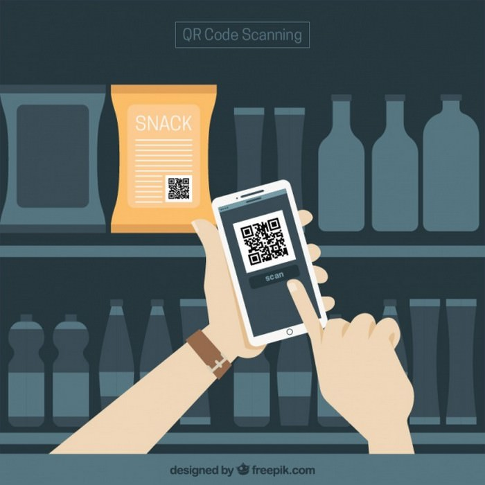 Supermarket And Mobile Background With QR Code - Vector Free