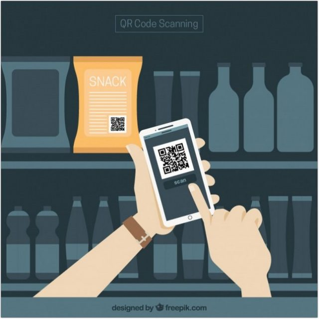Supermarket And Mobile Background With QR Code - psd