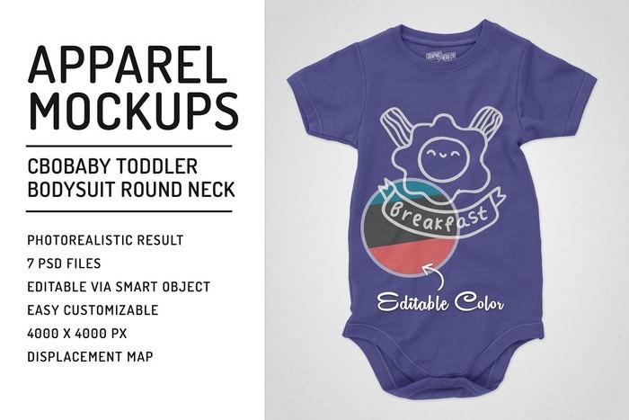 Toddler Bodysuit Crew Neck Mockups