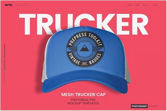 Trucker hat Photoshop Template
