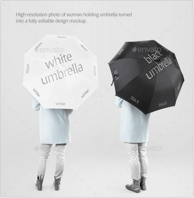 White and Black psd Umbrella