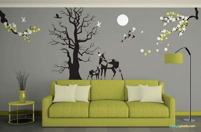 Wall Mockup in Goregous Living Room Eniviroment