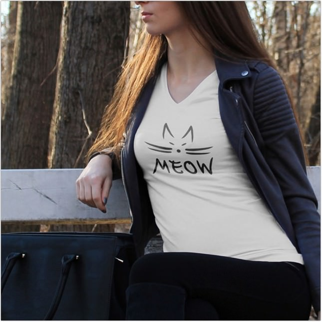 Woman with a Jacket Wearing a T-Shirt Mockup
