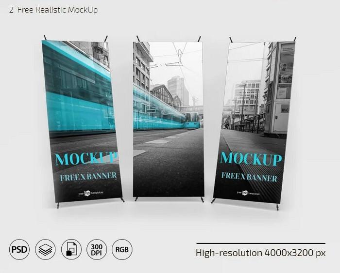 X Banner Mockup In PSD