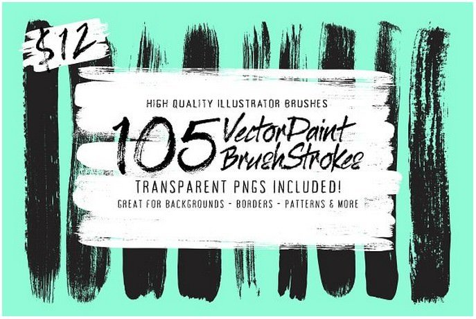 105 Illustrator Paint Stroke Brushes