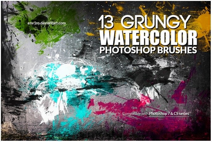 13 Grungy Paint Photoshop Brushes