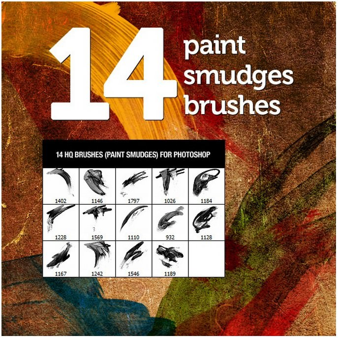 14 Paint Smudges Brushes