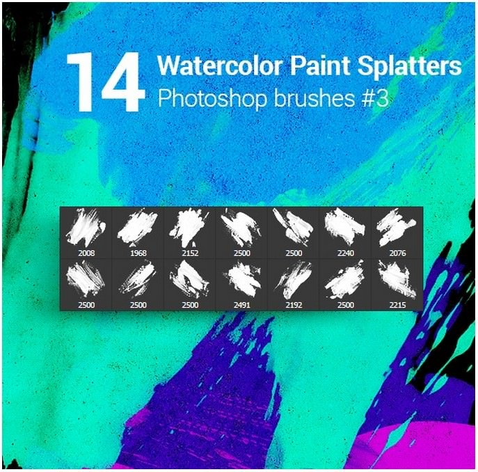 14 Watercolor Paint Splatters Photoshop Brushes #3