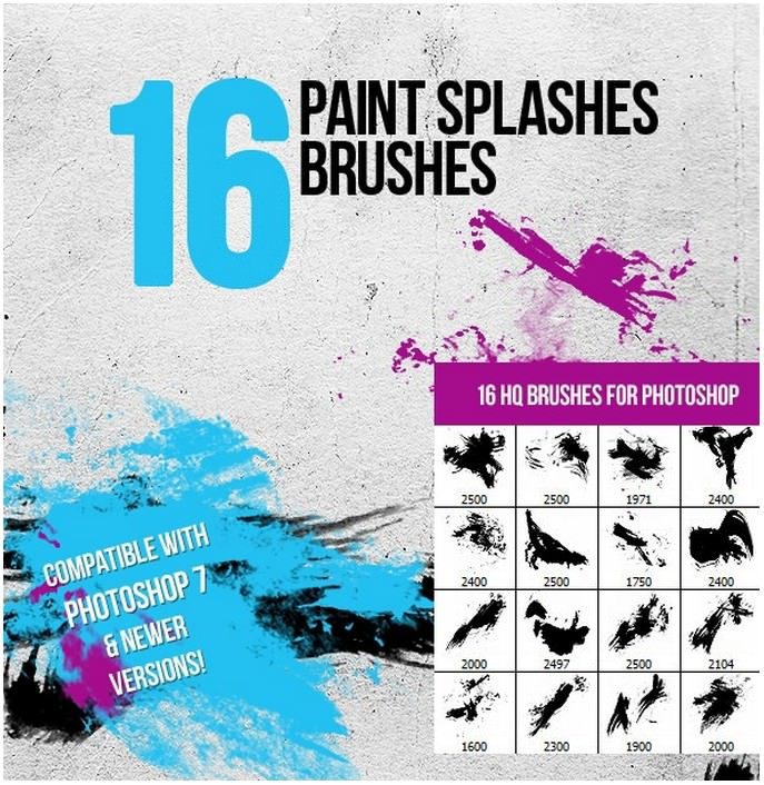 16 Paint Splashes Photoshop Brushes