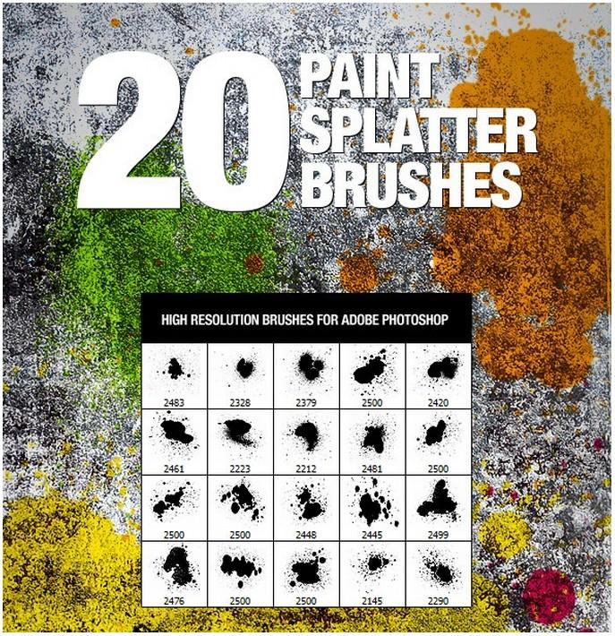 20 Paint Splatter Brushes