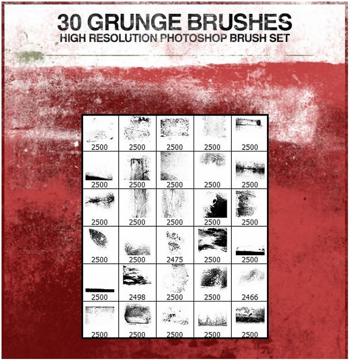 30 Grunge Photoshop Brushes