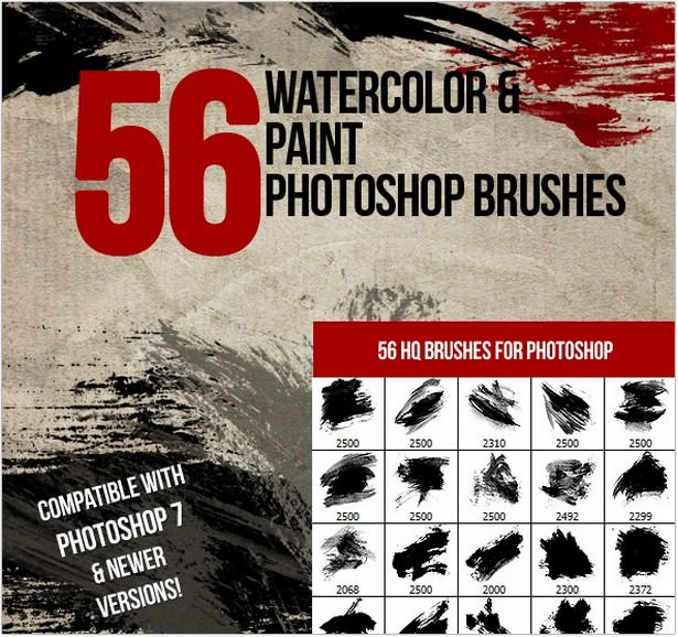Watercolor & Paint Photoshop Brushes