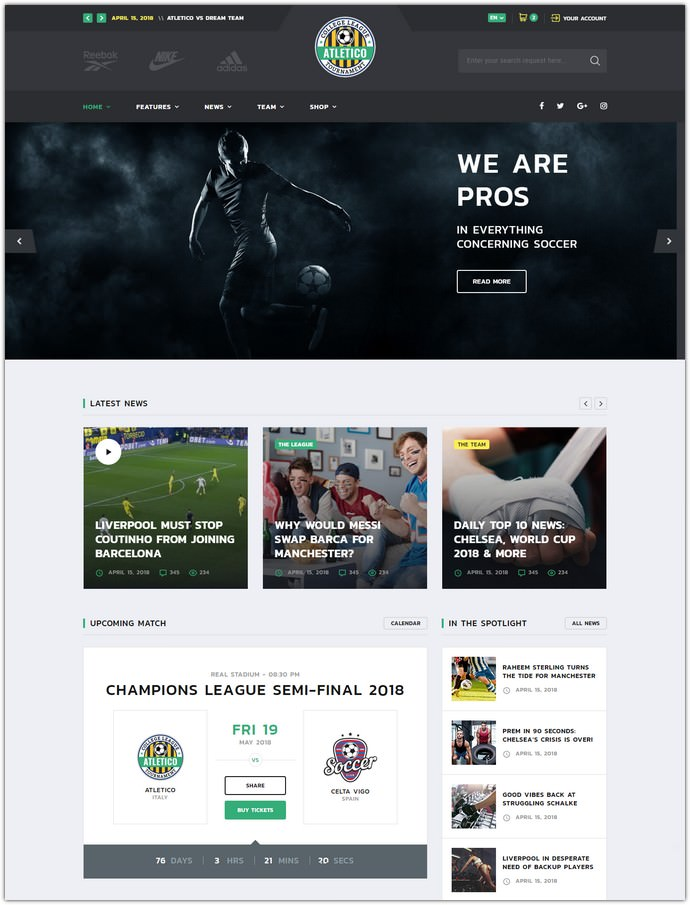 Sport Multipurpose Bootstrap 4 Website Template