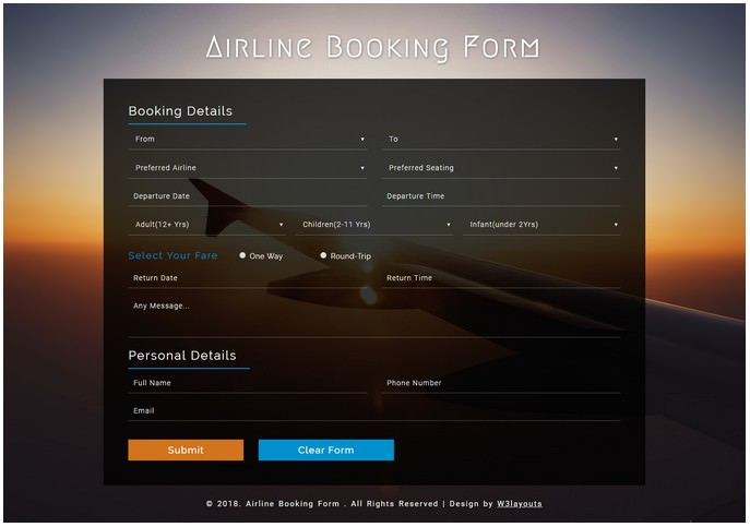 Airline Booking Form a Responsive Widget Templated