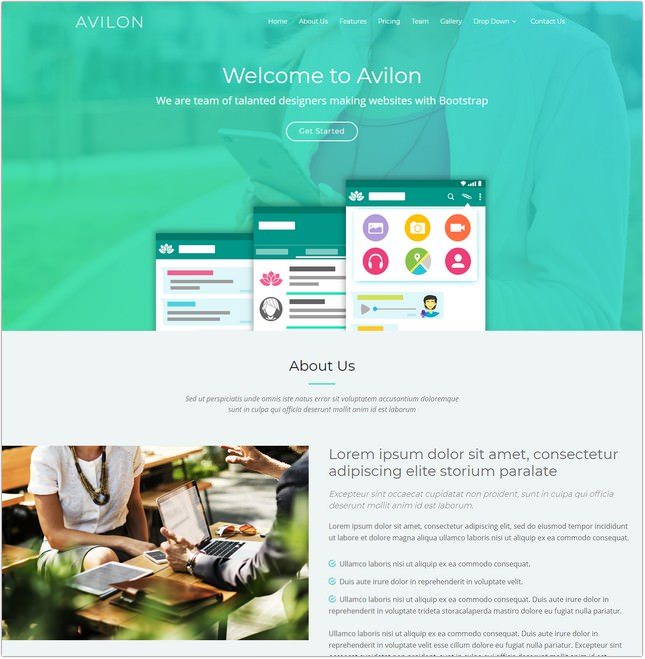 Avilon Bootstrap Landing Page Template