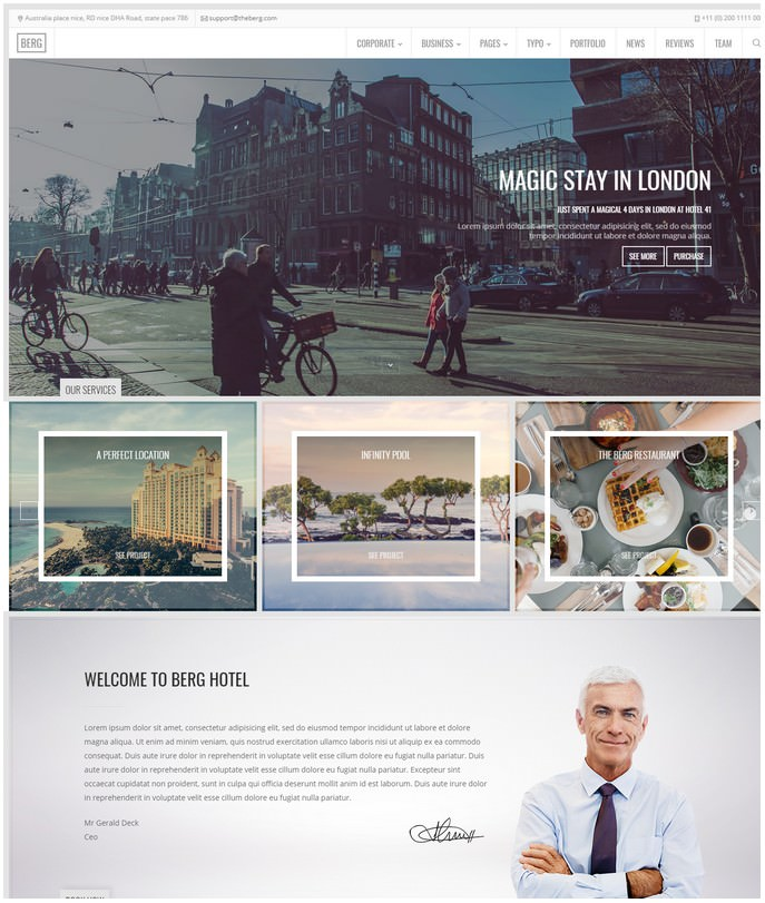 Berg - Travel One Page & Multi Page Theme