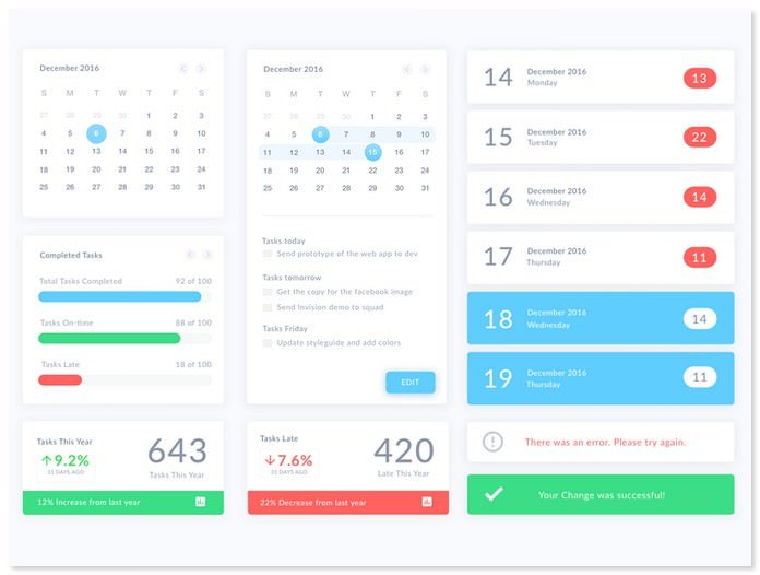 Calendar UI Elements Sketch Resource