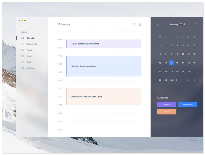 Calendar UI Sketch Resource
