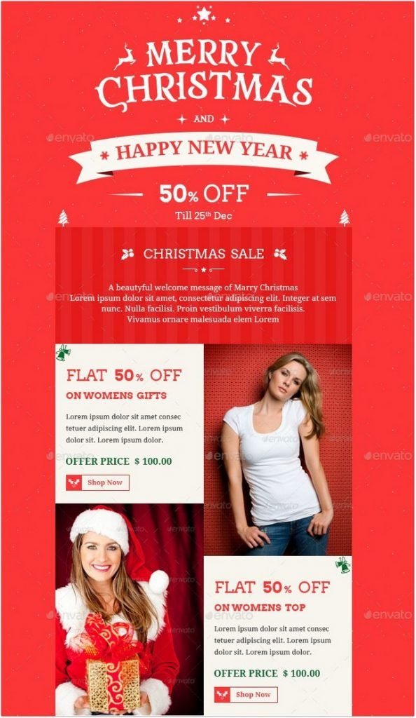 Christmas Offers E-commerce e-newsletter PSD Template
