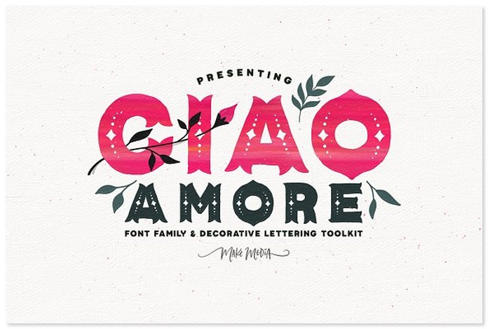 Ciao Amore Decorative Font Kit