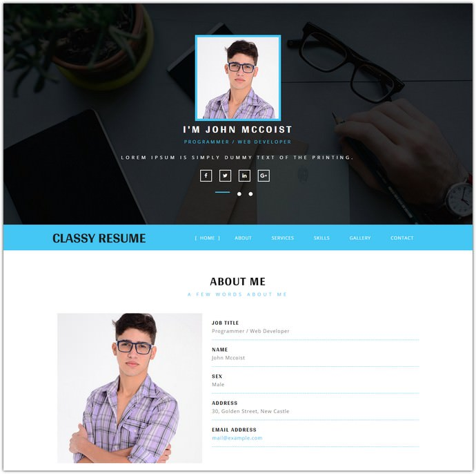 Classy Resume Bootstrap Responsive Web Template