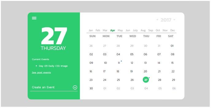 Daily CSS Images 09 Calendar