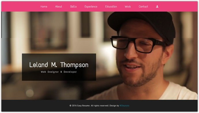 Easy Resume Bootstrap Responsive Web Template