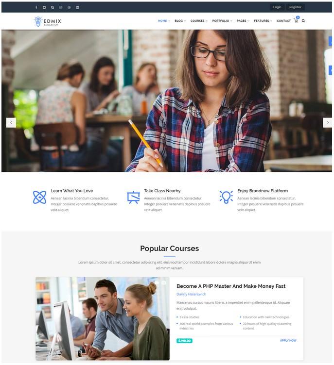 Edmix - Powerful Education, Courses Online Drupal 8.6 Theme