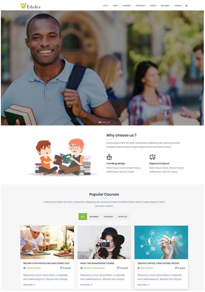Edubiz - Powerful Education, Courses Drupal 8.5 Theme