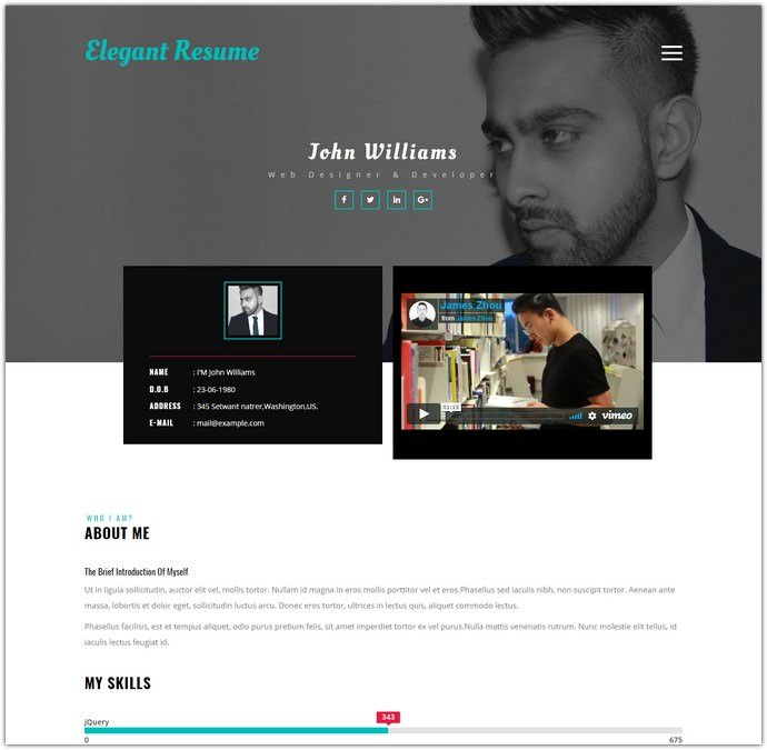 20  best bootstrap resume templates for online cvs 2018