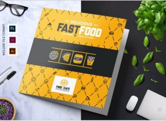 Fast Food Restaurant Food Menu Food List Tri-Fold Brochure Template