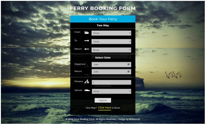 Ferry Booking Form Widget Responsive Widget Template