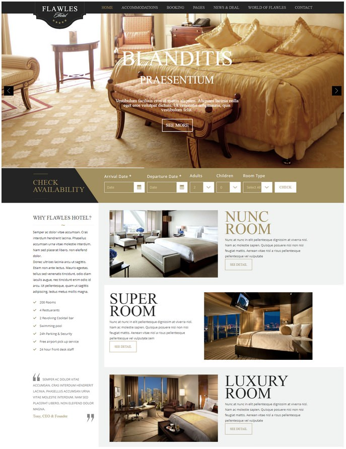 FlawlesHotel - Online Hotel Booking Drupal Theme