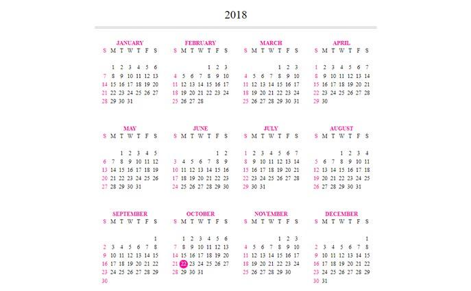 Flexbox responsive calendar