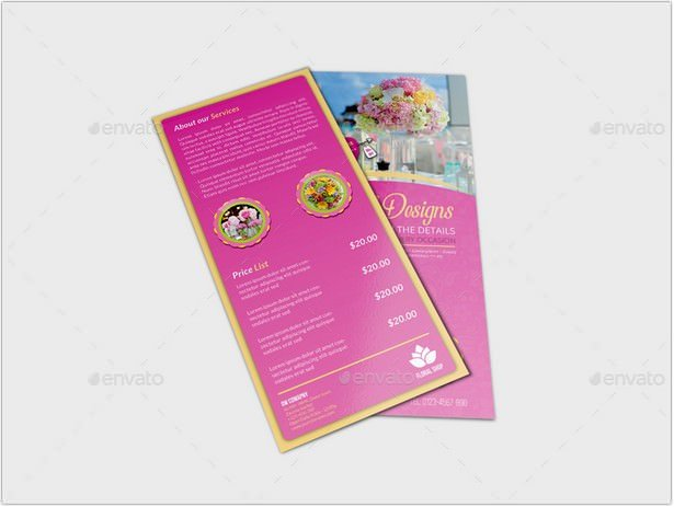 Floral Designs Flyer DL Size Template