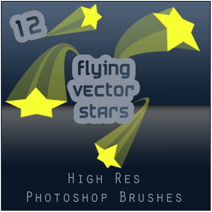 Flying Vector Stars Vintage Brushes