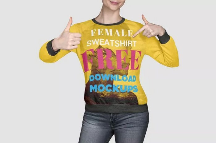 Free Female Sweatshirt Mockup