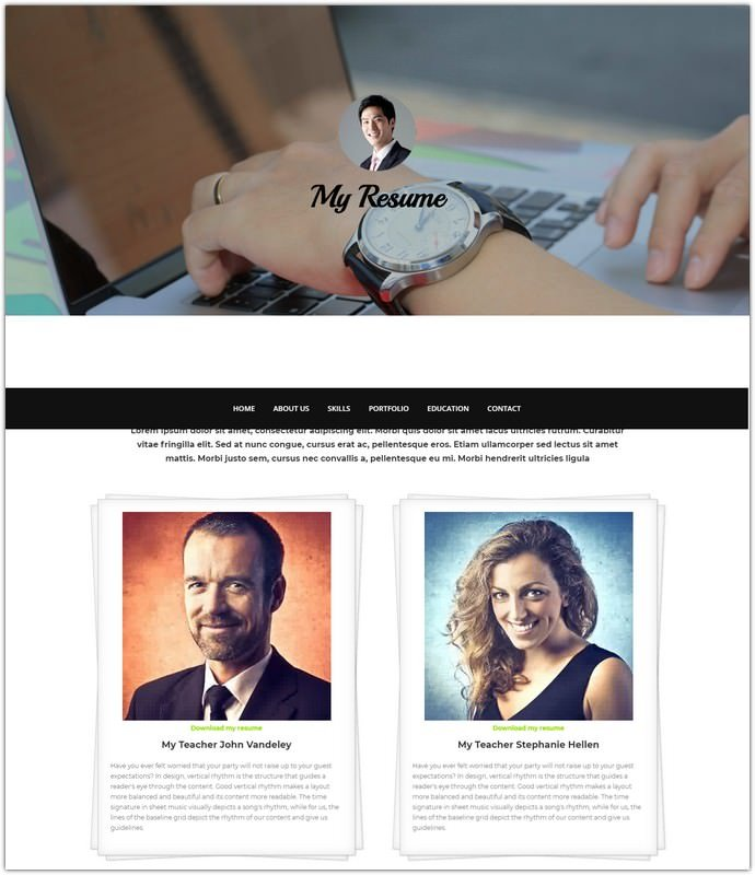 HTML bootstrap template – My Resume