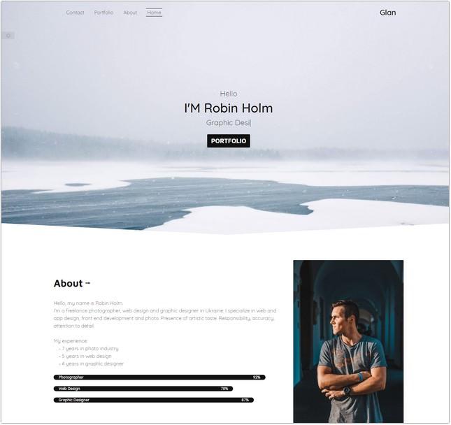 One Page Portfolio Bootstrap 4