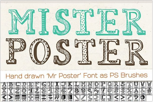 Hand drawn 'Mr Poster' Font Brushes