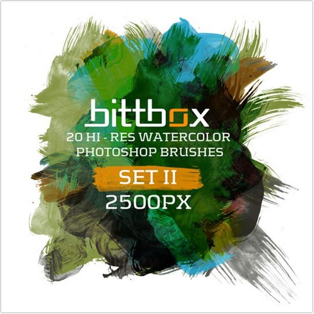 Hi-Res Watercolor Photoshop Brushes Set II