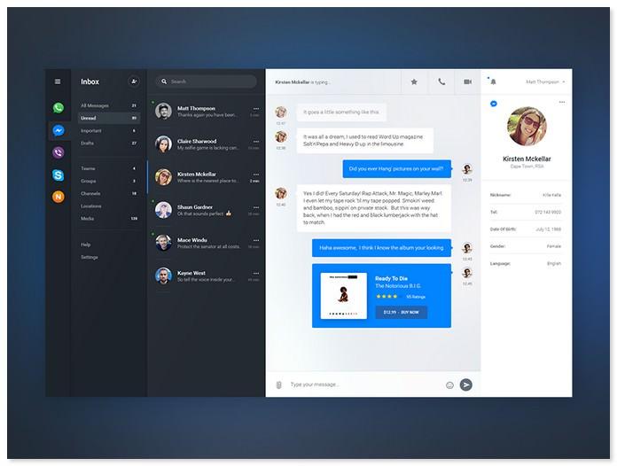 IM - Chat Dashboard UI PSD
