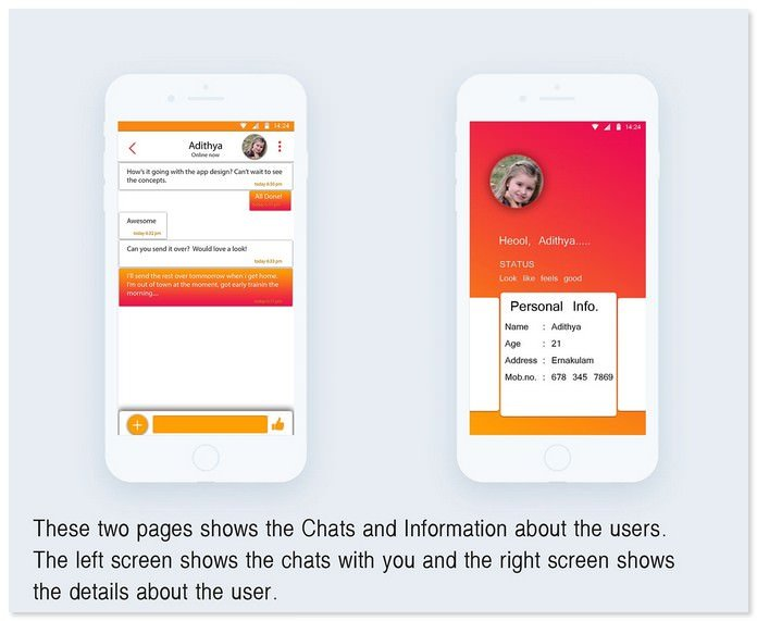 INSTANT CHAT Chat application UX UI design
