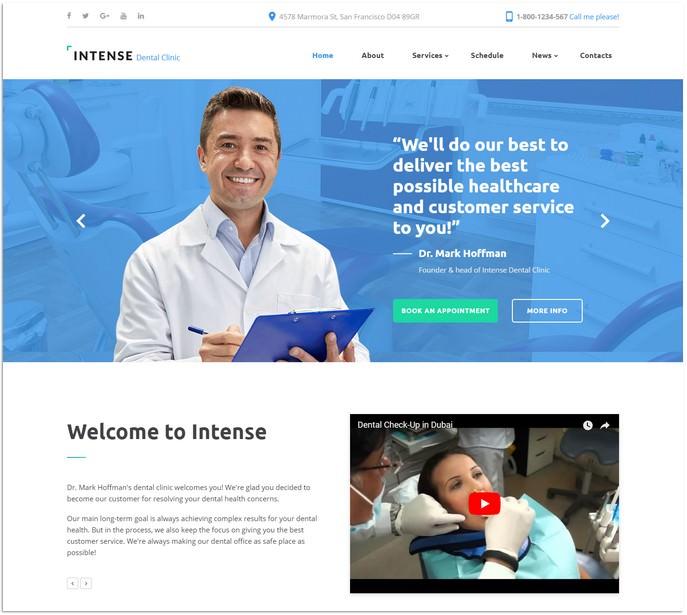 Intense Dental Clinic Website Template