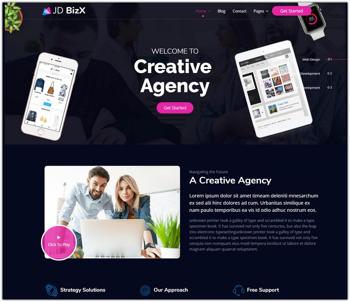 JD BizX Multipurpose One Page Template