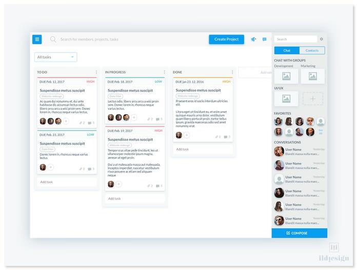 Kanban Dashboard + Chat Panel UI Design
