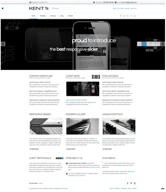 Kent Powerful Media Responsive Template For Joomla