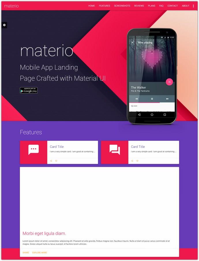 Material Design Mobile App Landing Page